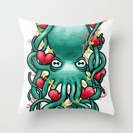 Octupus and Hearts Throw Pillow