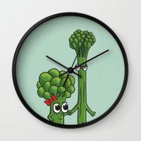 boyfriend Wall Clocks featuring Broccolini Boyfriend by khalan