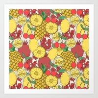 fruit Art Prints featuring Fruit by Valendji