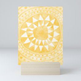 Yellow Tribal Triangle Circle Mini Art Print
