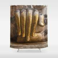 buddhism Shower Curtains featuring Golden Hand of a Buddha in Wat Sri Chum Thailand by Maria Heyens