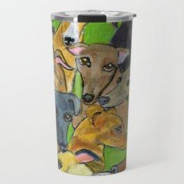 Greyhounds on green Travel Mug