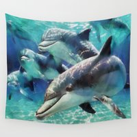 dolphin Wall Tapestries featuring Dolphin by A.Aenska-Cholpanova