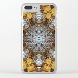 Golden stone, blue sky and arching branches kaleidoscope Clear iPhone Case