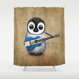 Baby Penguin Playing Salvadorian Flag Acoustic Guitar Shower Curtain