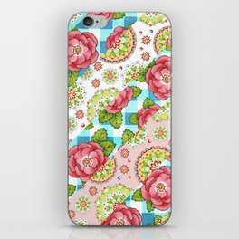 Pastel Mandala and Rose Striped Pattern iPhone Skin