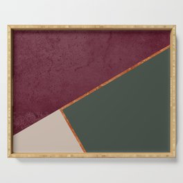 Burgundy Olive Green Gold and Nude Geometric Pattern #society6 #buyart Serving Tray