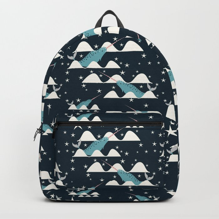narwhal in ocean blue Backpack