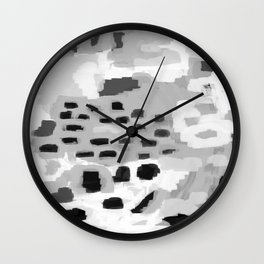 Turan - Black and white grey abstract painting modern home decor minimalist neutral trendy dorm Wall Clock