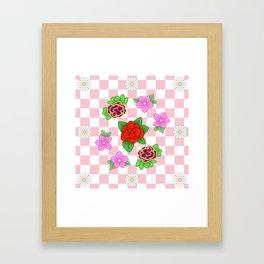 Pixel Flower Pattern Framed Art Print