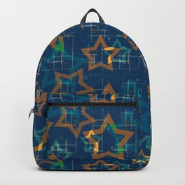 Star . Gold stars on a blue background . Backpack