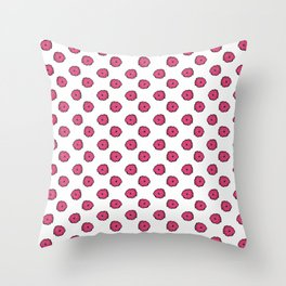 Pink flowers on white Throw Pillow