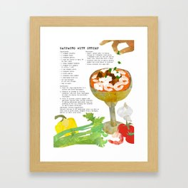 Gazpacho Recipe and Collage Illustration Framed Art Print