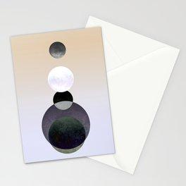 Geometric Moon Beige Stationery Cards