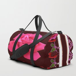 FUCHSIA PINK ROSE & BURGUNDY FLORAL PATTERNED ART Duffle Bag