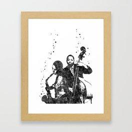 Jazz musician, double bass player, Framed Art Print