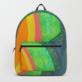 Shapes and Layers no.25 - Abstract painting Blue, Green, pink, yellow orange Backpack