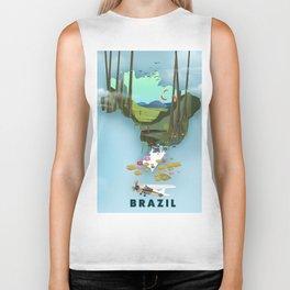 Brazil Map vacation poster. Biker Tank