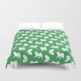 Samoyed Pattern (Green Background) Duvet Cover