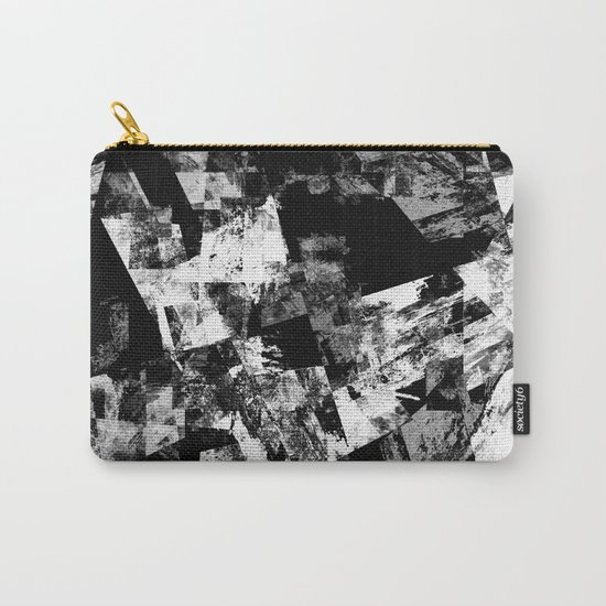 Fractured Black And White - Abstract, textured, black and white artwork Carry-All Pouch
