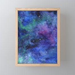 Colorful Galaxy Space Watercolor Framed Mini Art Print