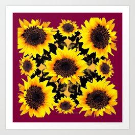 Black & Yellow Sunflowers Burgundy Purple Art Art Print