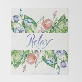 Relax,Tropical Floral Watercolor Throw Blanket