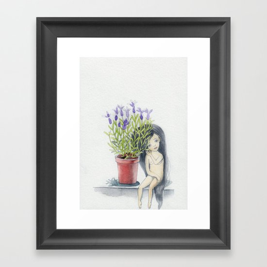 listening to the lavender's breath Framed Art Print