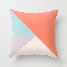 Geometric orange teal lavender color block pattern Throw Pillow