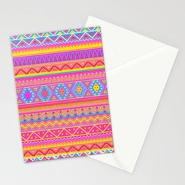 Aztec Pattern Pink and Light bLUE cOLORS Stationery Cards