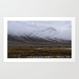 Snow and fog on the Alaska Pipeline Art Print