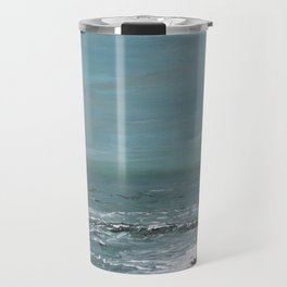 """Sound of the Sea"" Teal Seascape Ocean Painting Travel Mug"