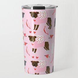 Pitbull valentines dog breed pibble love rescue dogs pure breed Travel Mug