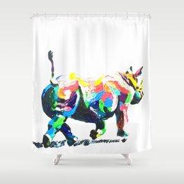 Rainbow Rhino Shower Curtain