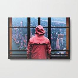 New York City Window and Skyline Metal Print