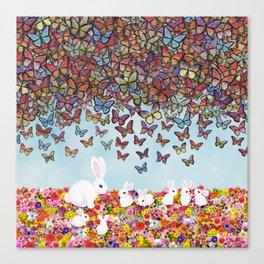 bunnies, flowers, and butterflies Canvas Print