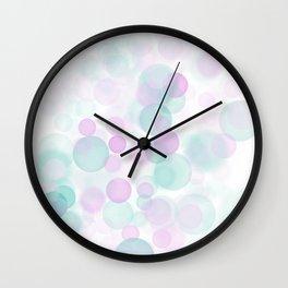 Turquoise & Pale Pink Bokeh Lights Wall Clock