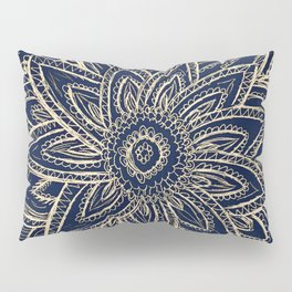 Cute Retro Gold abstract Flower Drawing  geometric Pillow Sham