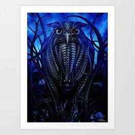 Mechanical Owl - Blue Art Print