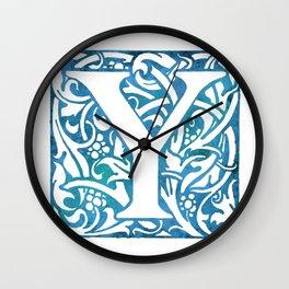 Letter Y Elegant Vintage Floral Letterpress Monogram Wall Clock