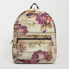 Rustic Vintage Country Floral Wood Romantic Backpack