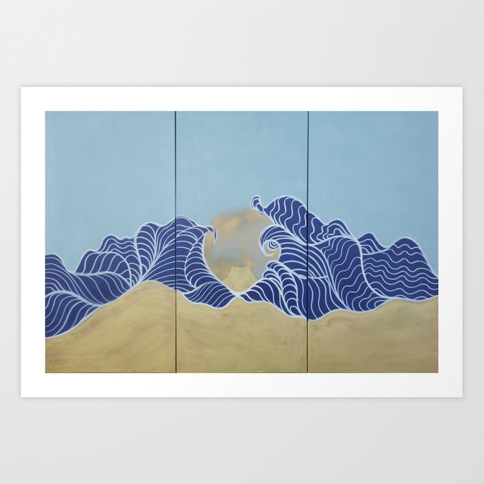 Japanese Wall Art Large Painting J055 Fuji Sea Sun Japan Mid Century Modern Art By Artist Ksavera Art Print By Ksaveraart