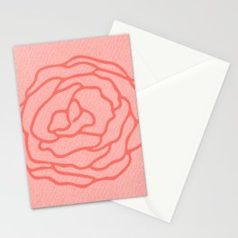 Modern Rose on Living Coral Stationery Cards