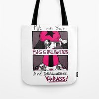 roller derby Tote Bags featuring Roller Derby  by Rachel M. Loose