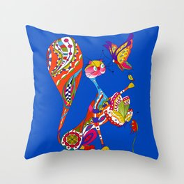 Cat and two butterflies Throw Pillow