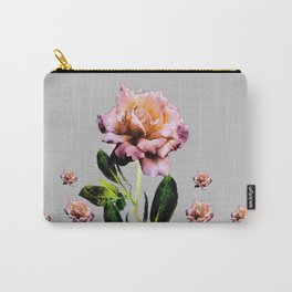 ANTIQUE PINK ROSES BLACK-GREY COLOR BOTANICAL Carry-All Pouch