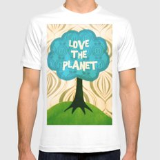Love the planet Mens Fitted Tee MEDIUM White