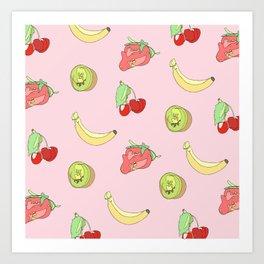Pink Fruit Pattern Art Print