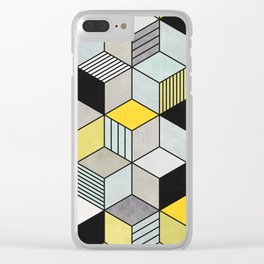 Colorful Concrete Cubes 2 - Yellow, Blue, Grey Clear iPhone Case