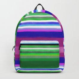 Pink Green Stripish Backpack